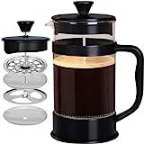 Utopia Kitchen [1 Liter/ 1000 ml] Kaffeebereiter mit Edelstahl Filter - French Press Kaffeemaschine - Französische Kaffeepresse - Französisches Pressensystem - Schwarz