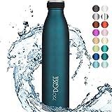 720°DGREE Edelstahl Trinkflasche 'milkyBottle' - 750ml, 1L - BPA-Frei, Auslaufsicher, Kohlensäure geeignet - Thermosflasche für Sprudel, Sport, Uni, Schule, Fitness, Outdoor, Camping