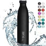 720°DGREE Edelstahl Trinkflasche 'milkyBottle' - 1L - BPA-Frei, Auslaufsicher, Kohlensäure geeignet - Thermosflasche für Sprudel, Sport, Uni, Schule, Fitness, Outdoor, Camping