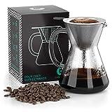 Coffee Gator Pour Over Kaffeebrüher - Mehr Geschmack mit einem papierlosen Edelstahlfilter und einer Glaskaraffe - Manueller Drip Kaffeebereiter - 400 ml